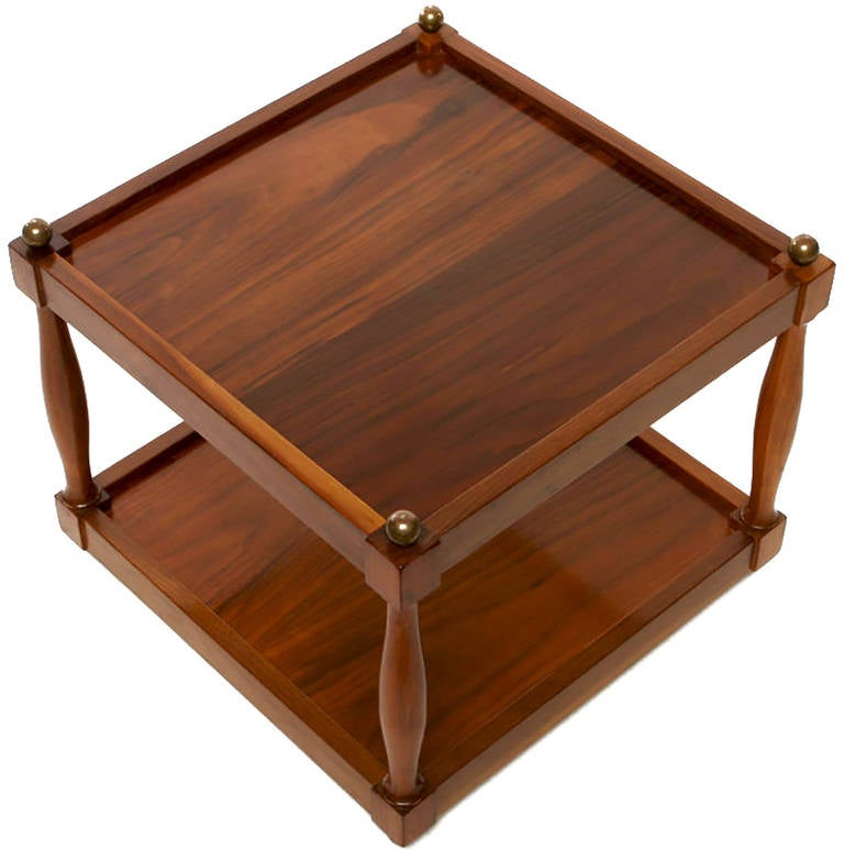 Pair of Reversible Walnut, Brass and Micarta Low Coffee Tables In Excellent Condition For Sale In Chicago, IL