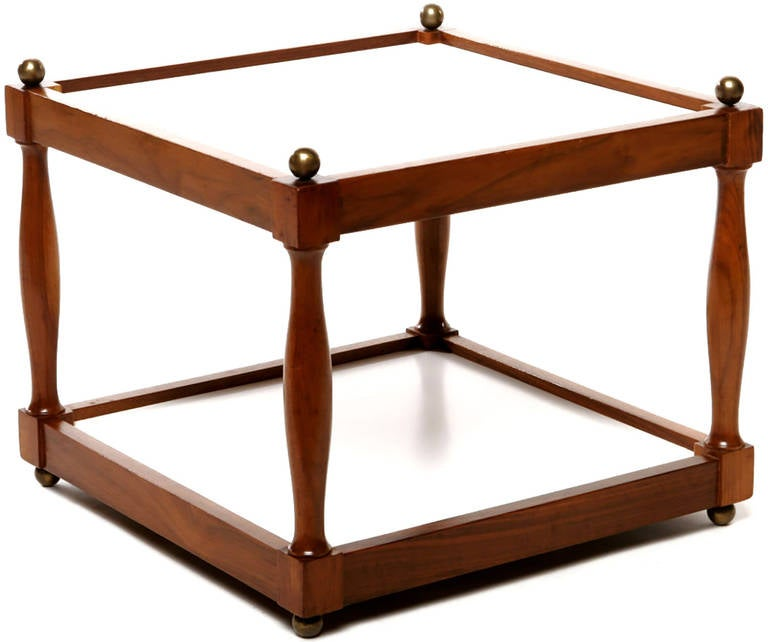 Mid-20th Century Pair of Reversible Walnut, Brass and Micarta Low Coffee Tables For Sale