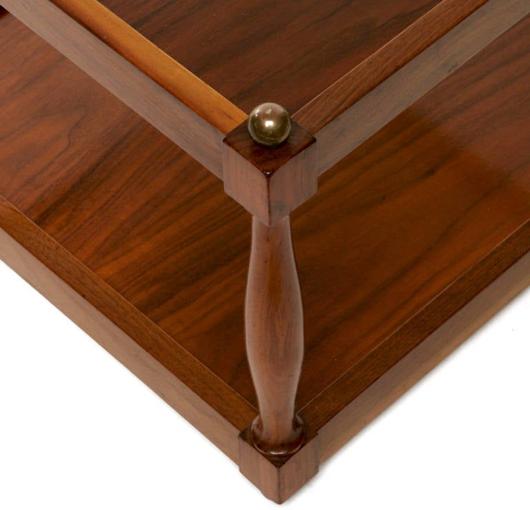 Pair of Reversible Walnut, Brass and Micarta Low Coffee Tables For Sale 1