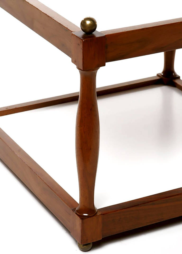 Pair of Reversible Walnut, Brass and Micarta Low Coffee Tables For Sale 2