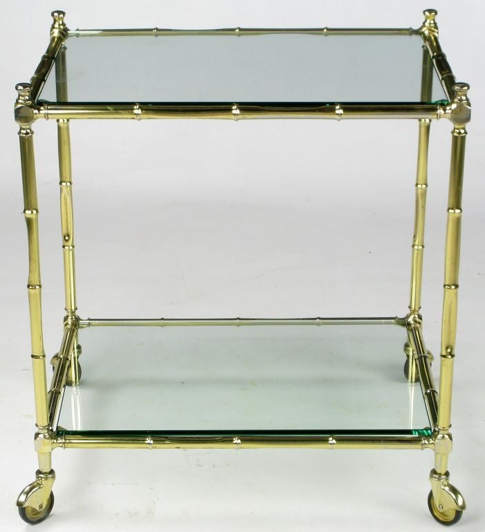 Plated Italian Bamboo Form Brass Bar Cart For Sale