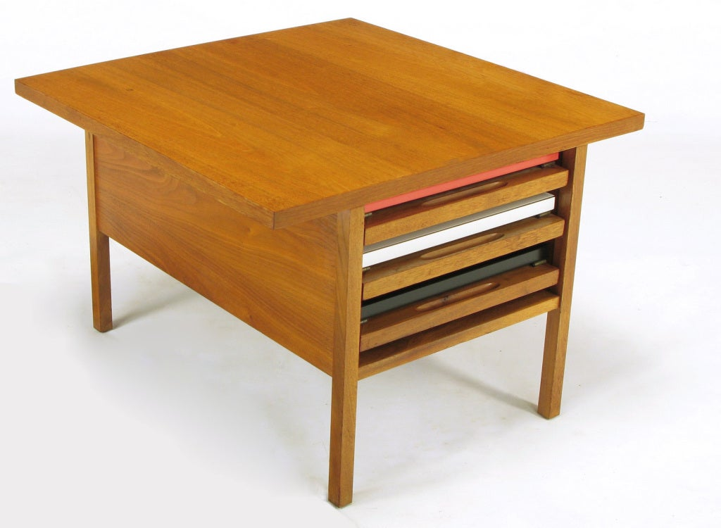 John Keal Walnut Coffee Table With Three Folding Side Tables At 1stdibs