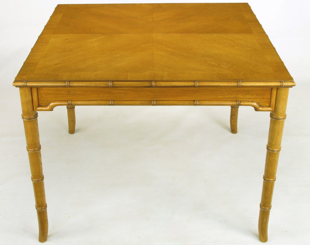 Chinoiserie parquetry top dining table with bamboo saber for Single leg dining table