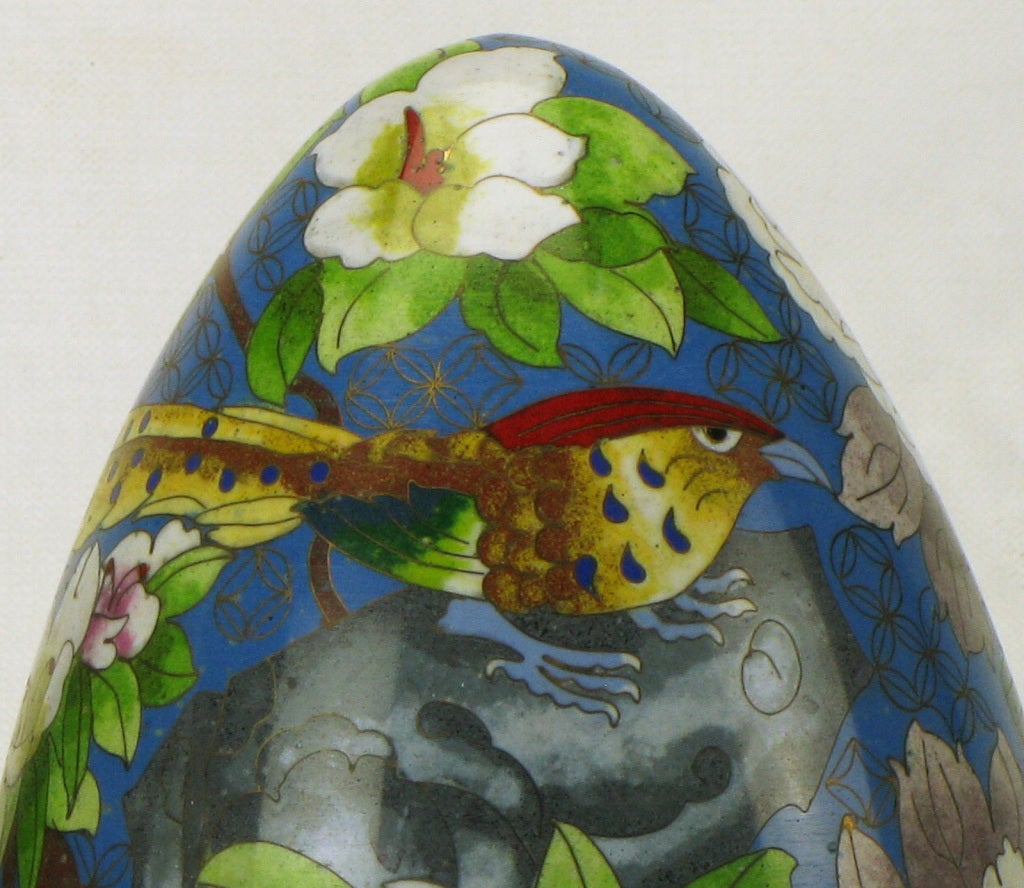 Pair of Colorful Cloisonne Eggs For Sale 5