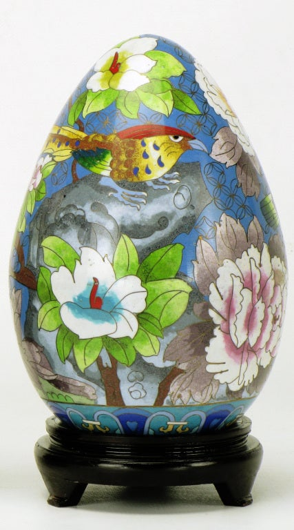 Chinese Pair of Colorful Cloisonne Eggs For Sale