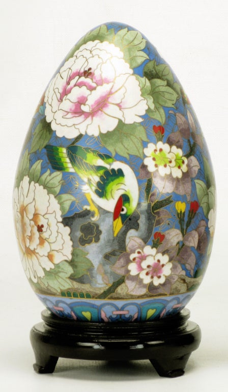 Mid-20th Century Pair of Colorful Cloisonne Eggs For Sale