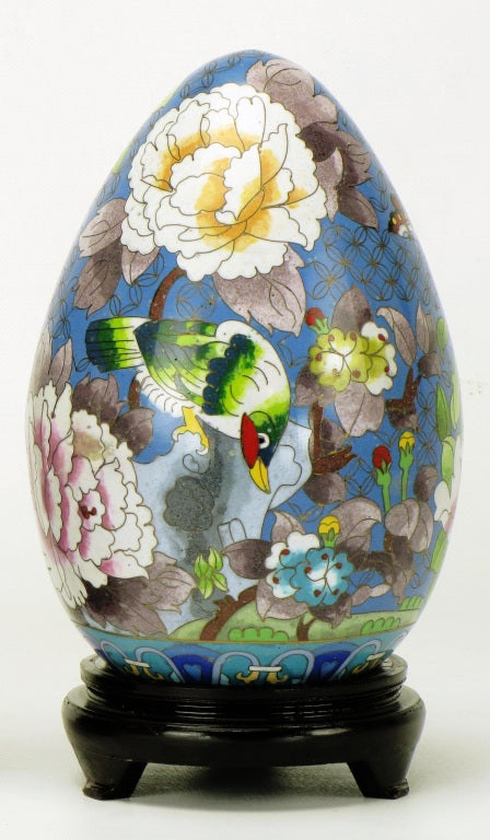 Pair of Colorful Cloisonne Eggs For Sale 1