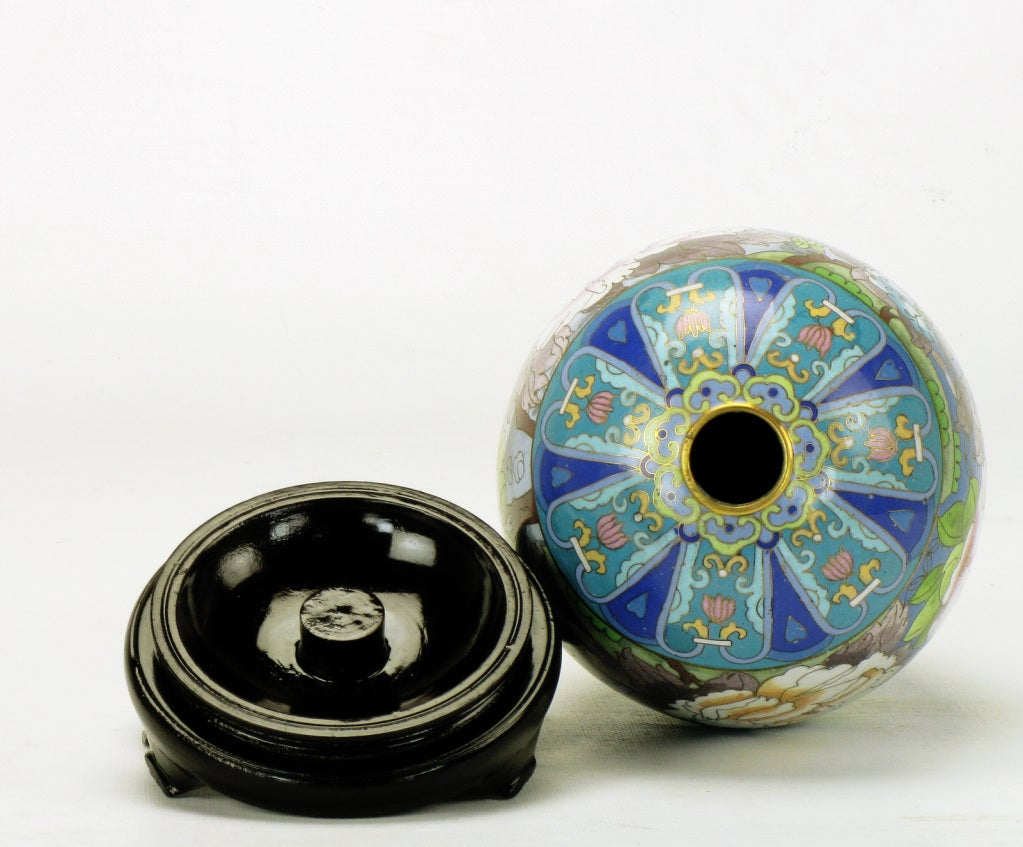 Pair of Colorful Cloisonne Eggs For Sale 2