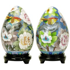 Pair of Colorful Cloisonne Eggs