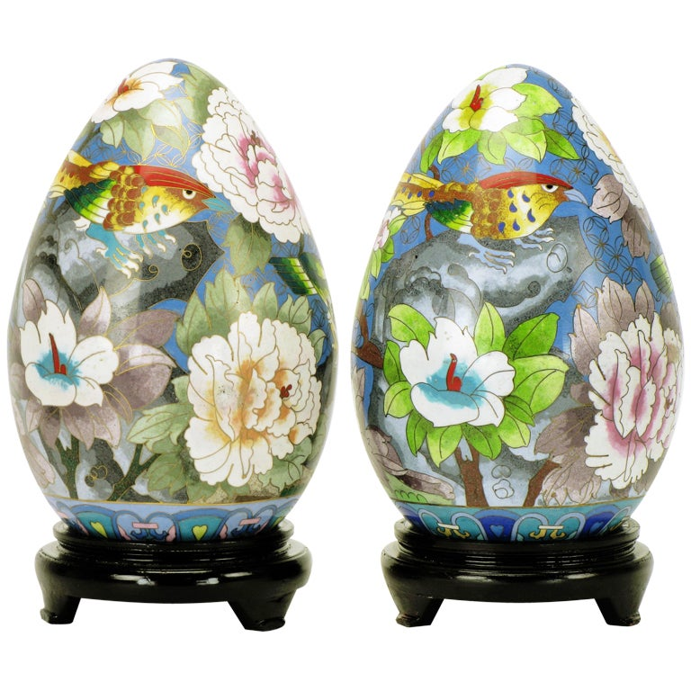 Pair of Colorful Cloisonne Eggs For Sale