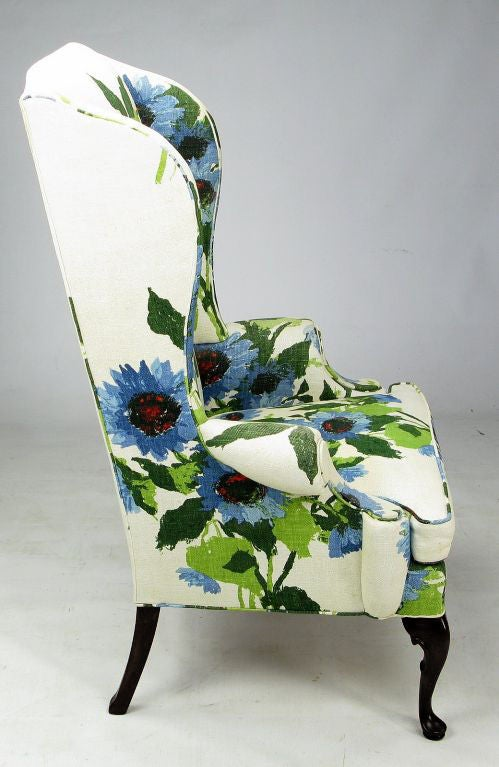 Pair 1960s Large Floral Linen Wing Chairs By Hickory At