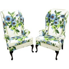 Pair 1960s Large Floral Linen Wing Chairs By Hickory