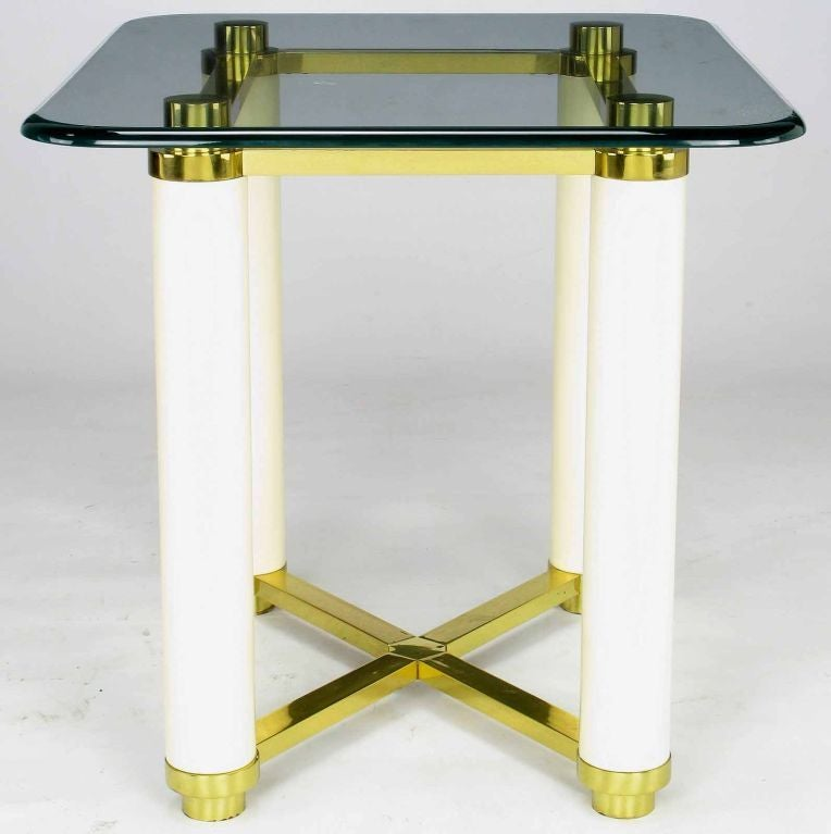 American Henredon Brass and Ivory Lacquer End Table with Glass Top For Sale