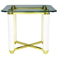 Henredon Brass & Ivory Lacquer End Table With Glass Top