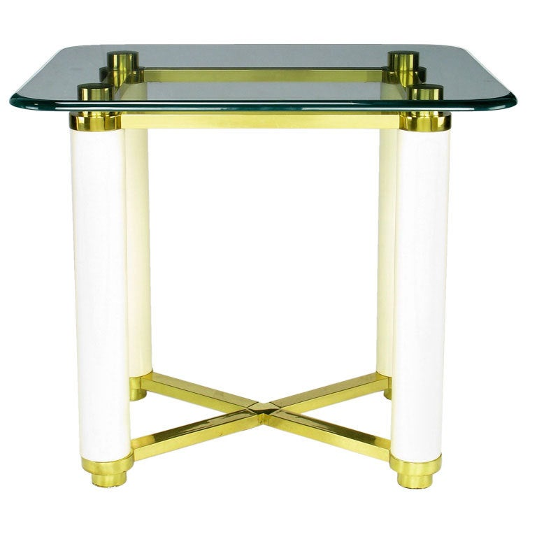 Henredon Brass and Ivory Lacquer End Table with Glass Top For Sale