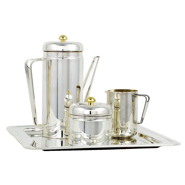 Late 20th Century PM Italian Silverplate & Brass Coffee Service For Sale