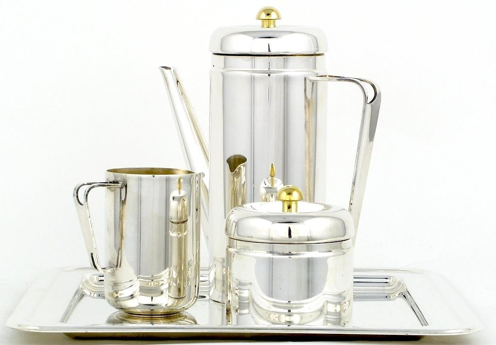 PM Italian Silverplate & Brass Coffee Service For Sale 1