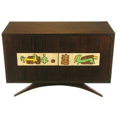 Vladimir Kagan Mahogany Bar Cabinet With Kasuba Tiles