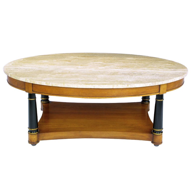Heritage Neoclassical Oval Coffee Table In Walnut And Travertine At 1stdibs