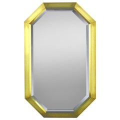Octagonal Patinated Brass Frame Beveled Mirror