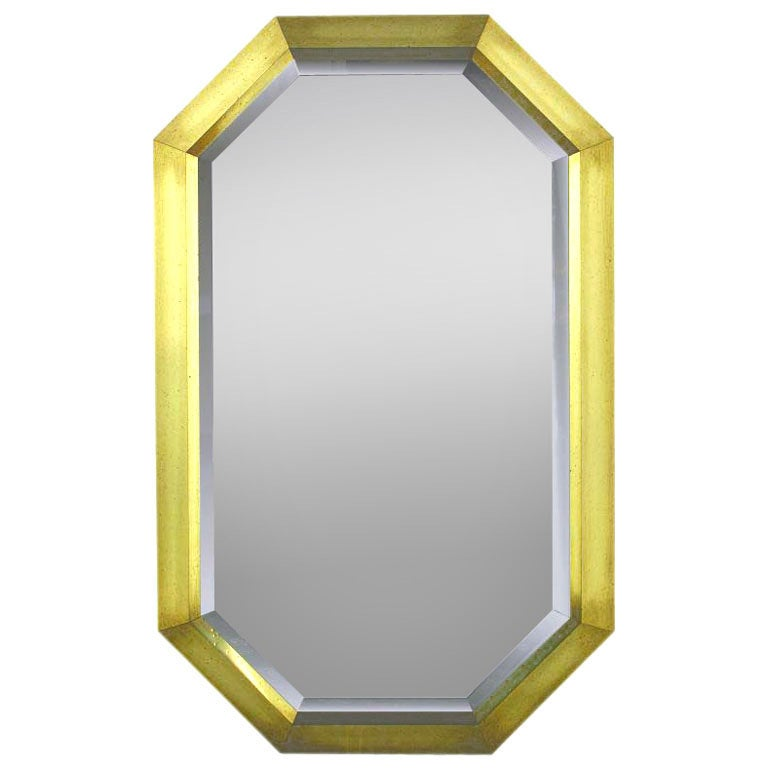 octagonal patinated brass frame beveled mirror 1