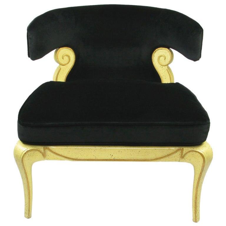 Grosfeld House Sculptural Black Velvet Slipper Chair At