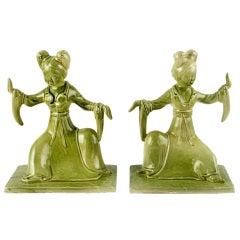 Pair Italian Ceramic Geisha Statues