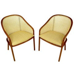 Pair of Ward Bennett Oak and Cane Armchairs
