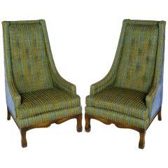 Pair Blue Velvet & Green Stripe Tall Back Arm Chairs
