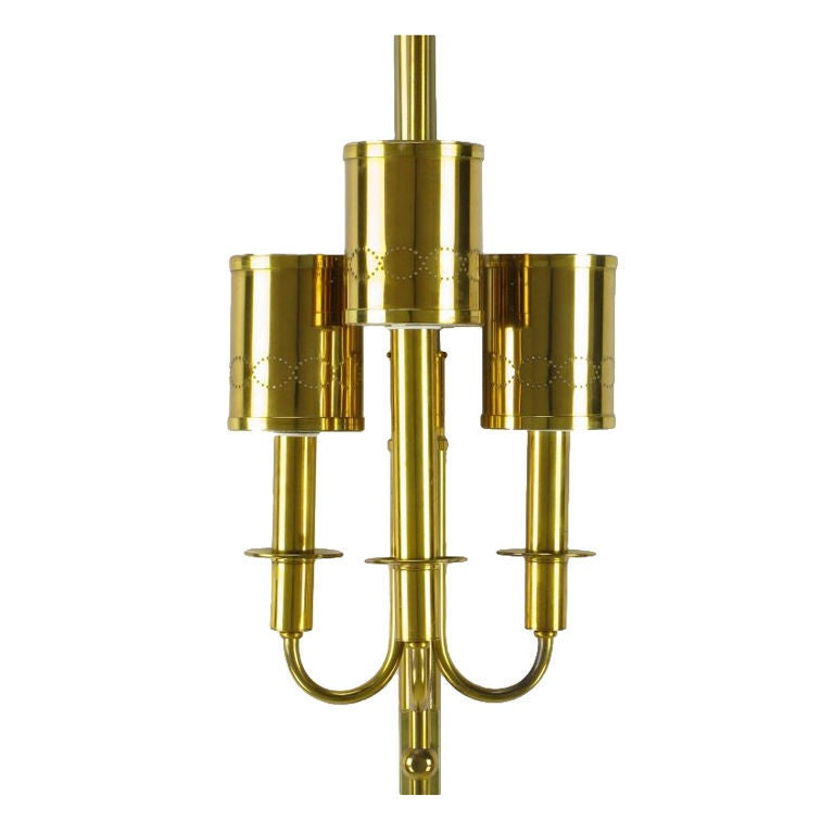 Metal Three-Light Pole Lamp with Polished and Pierced Brass Shades For Sale