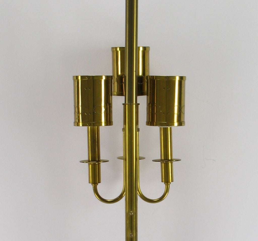 Three-Light Pole Lamp with Polished and Pierced Brass Shades For Sale 1