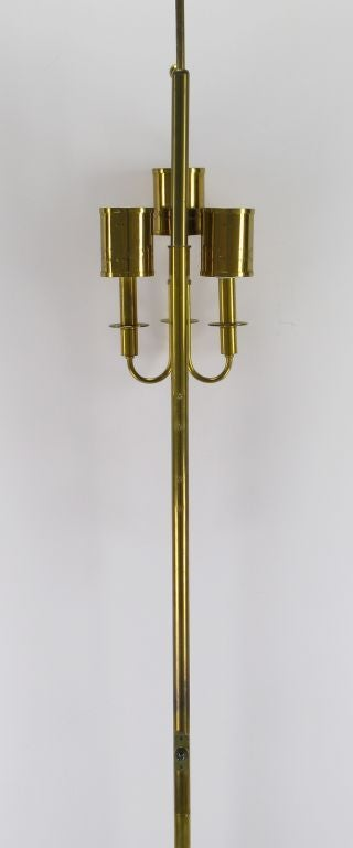 Three-Light Pole Lamp with Polished and Pierced Brass Shades For Sale 2