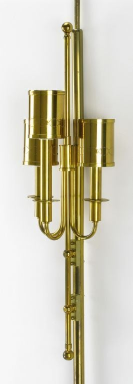 20th Century Three-Light Pole Lamp with Polished and Pierced Brass Shades For Sale