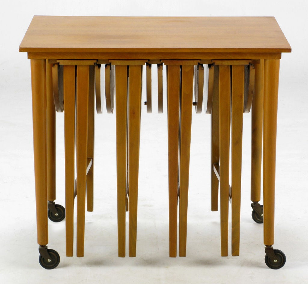 American Set Four Bertha Schaefer Style Nesting Tables and Serving Table For Sale