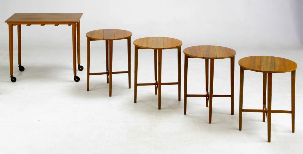 Set Four Bertha Schaefer Style Nesting Tables and Serving Table In Good Condition For Sale In Chicago, IL