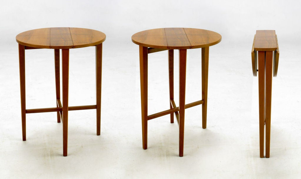 Walnut Set Four Bertha Schaefer Style Nesting Tables and Serving Table For Sale