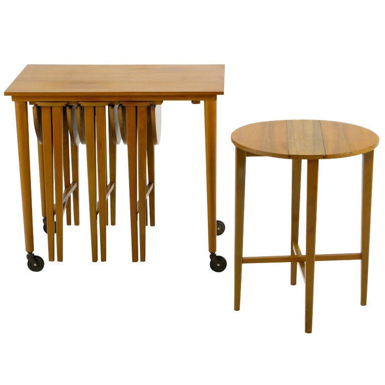 Set Four Bertha Schaefer Style Nesting Tables and Serving Table