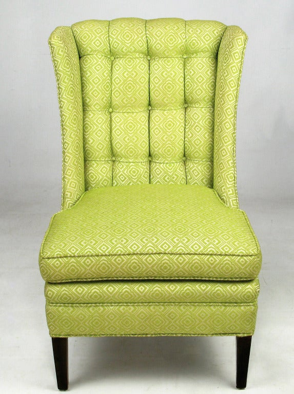 1940s Celery Geometric Damask Button Tufted Slipper Chairs