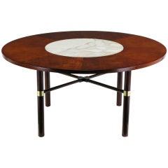 Round Harvey Probber Figured Walnut & Marble Game Table