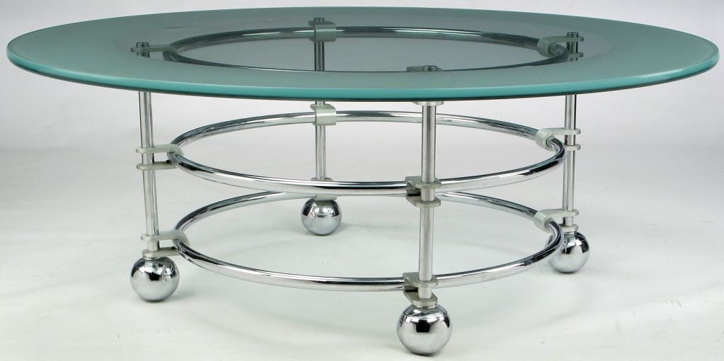 American Jay Spectre Chrome, Aluminum & Glass Coffee Table For Sale