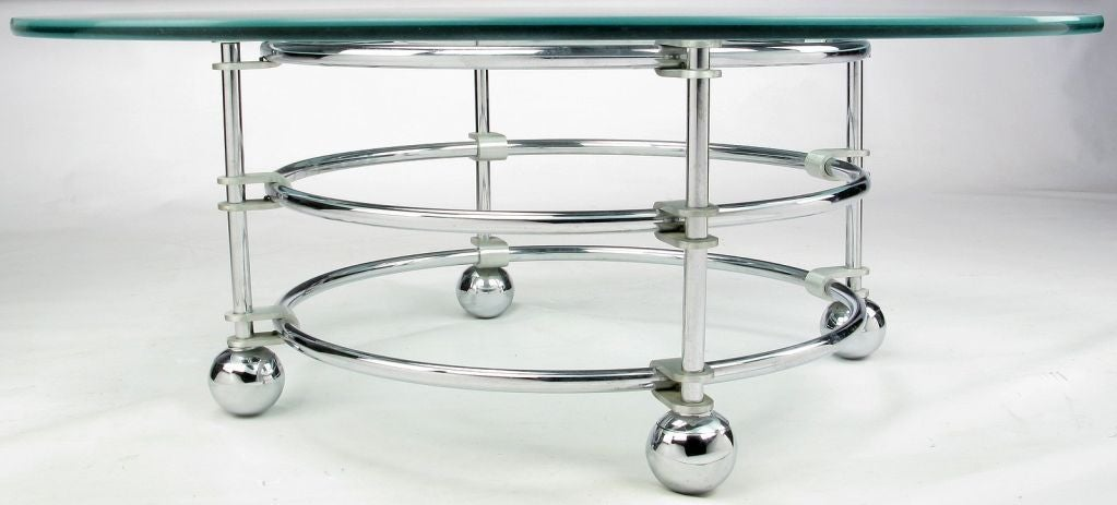 Etched Jay Spectre Chrome, Aluminum & Glass Coffee Table For Sale