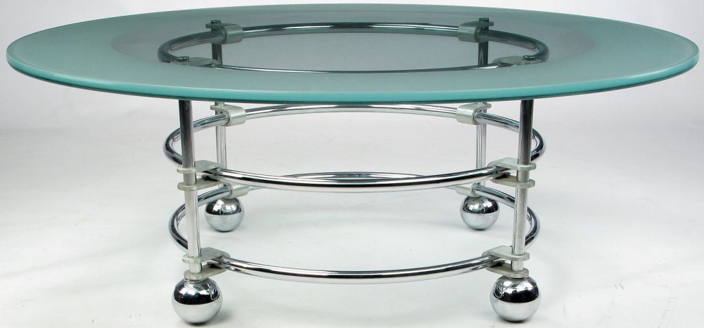 20th Century Jay Spectre Chrome, Aluminum & Glass Coffee Table For Sale