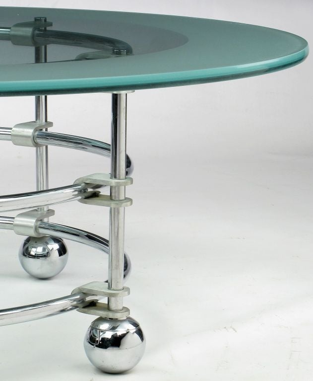 Jay Spectre Chrome, Aluminum & Glass Coffee Table For Sale 1