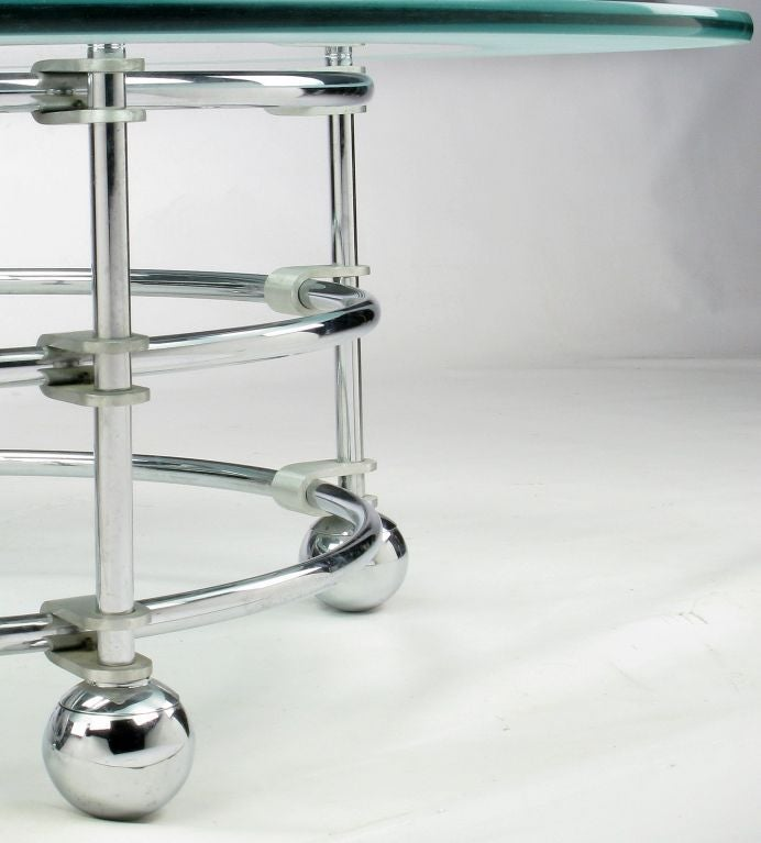 Jay Spectre Chrome, Aluminum & Glass Coffee Table For Sale 3