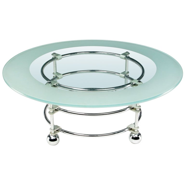 Jay Spectre Chrome, Aluminum & Glass Coffee Table For Sale