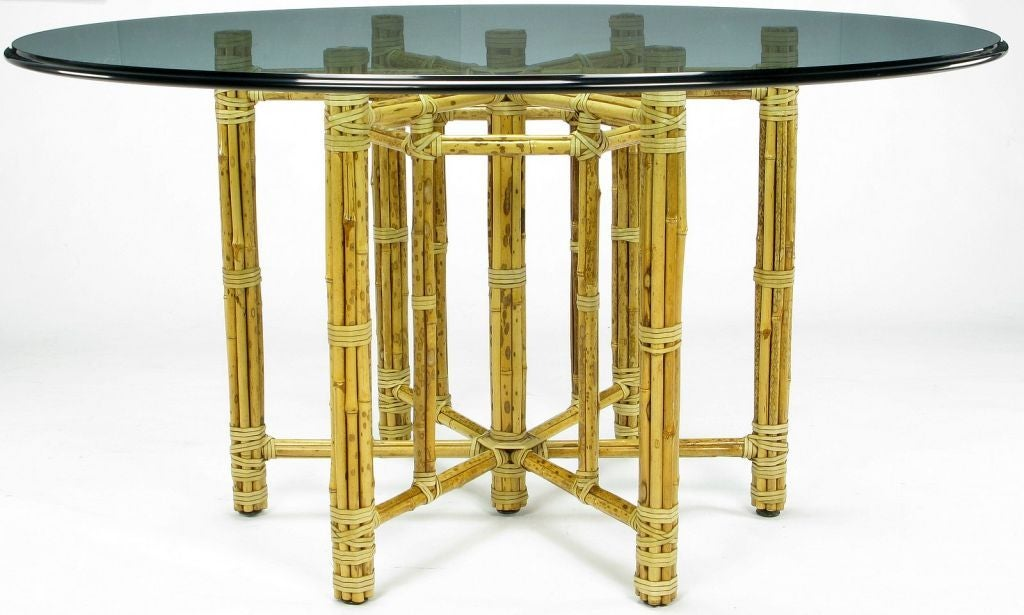 Large Mcguire Reeded Bamboo Dining Table At