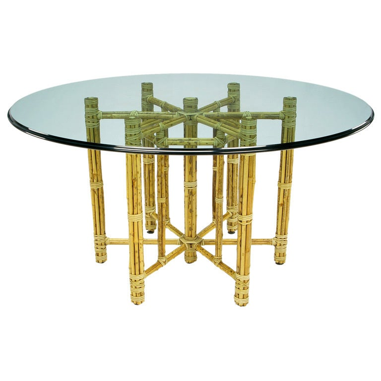 Large McGuire Reeded Bamboo Dining Table For Sale