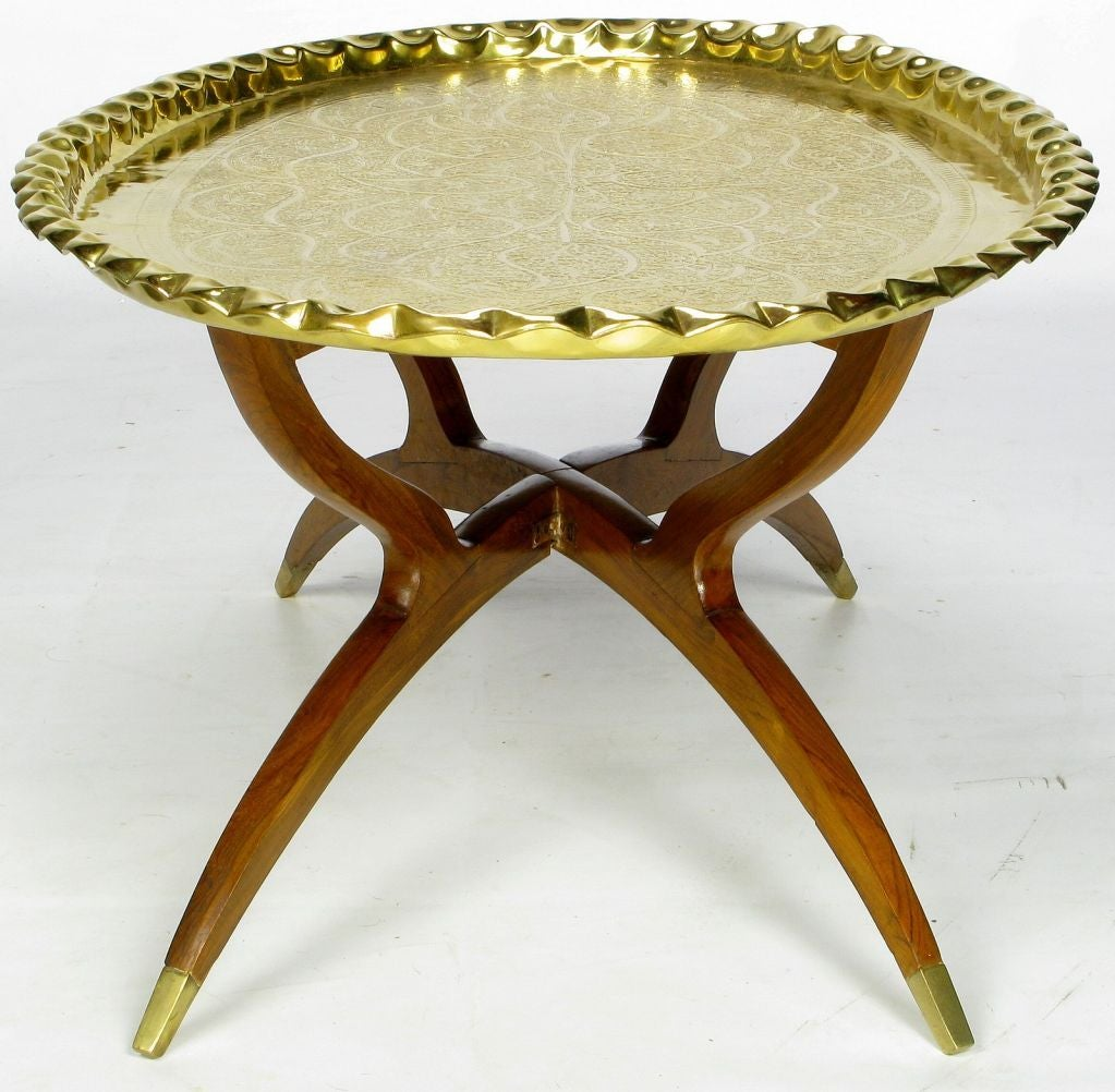 hammered brass tray table on mahogany base image 4. Black Bedroom Furniture Sets. Home Design Ideas
