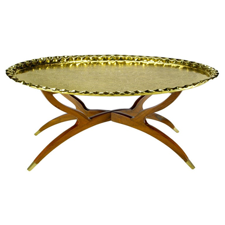 Hammered Coffee Table Tray: Hammered Brass Tray Table On Mahogany Base At 1stdibs