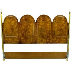 Elegant Burled Amboyna And Brass King Headboard By Mastercraft